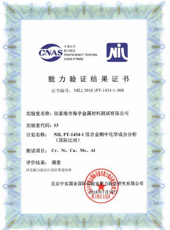 NIL PT-1434-1低合金钢中化学成分分析(国际比对)能力验证证书